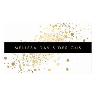 Carte de visite moderne de confettis d'or de Faux