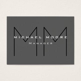 Carte de visite moderne de monogramme énorme noir
