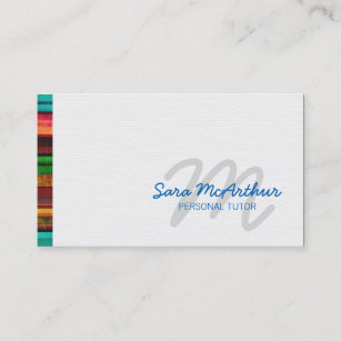 Carte De Visite Monogramme Colore Cursive Bord Childcare