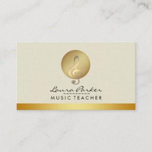Carte De Visite Musicien Note Musicale Creme Professeur