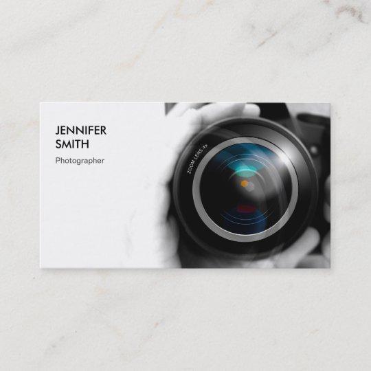 Carte De Visite Objectif Camera Simplement Noir Et Blanc