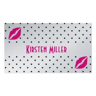 Carte de visite/pois noir avec des lèvres de roses carte de visite standard