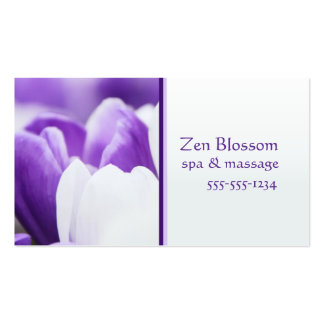 Carte de visite pourpre de spa de fleur