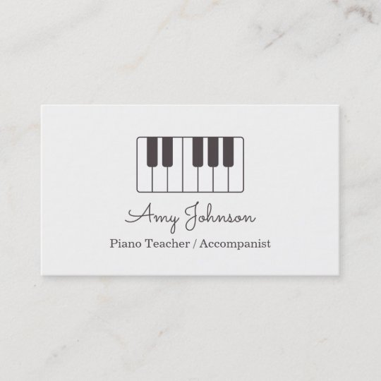 Carte De Visite Professeur Piano Minimaliste Moderne Musique