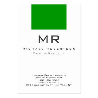 Carte de visite propre vert blanc de monogramme