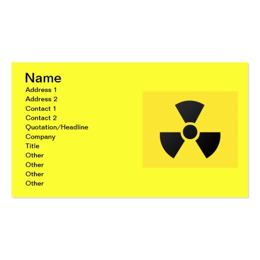 Carte de visite radioactif de signe