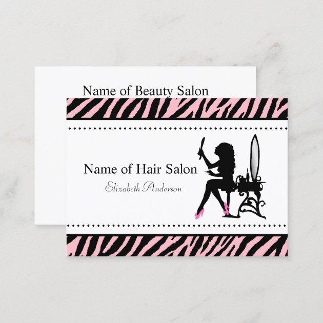 Salon Coiffure Chic Femme Noir Rose De Carte Visite Et QaEHH