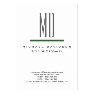 Carte de visite vert blanc de monogramme gris de