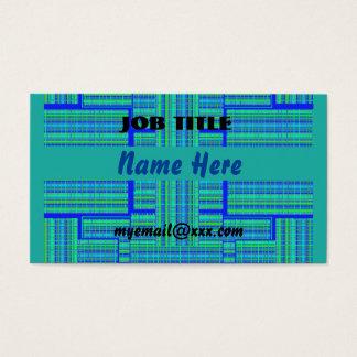 carte de visite vert-bleu de plaid