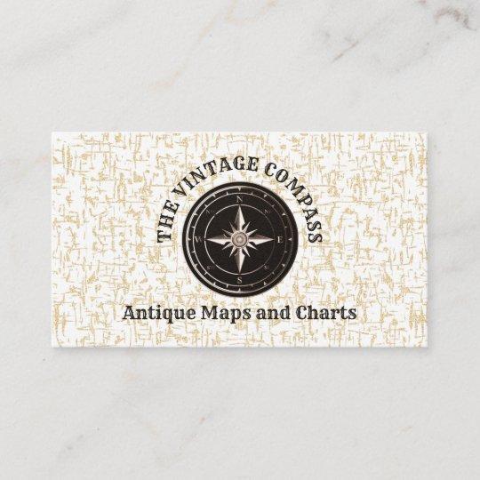 Carte De Visite Vieux Brocanteur Vintage Chic Boussole