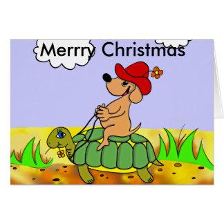 carte de voeux chien et tortue Merry Christmas