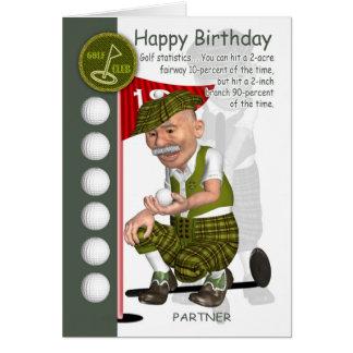 Carte de voeux d'anniversaire de golfeur d'associé