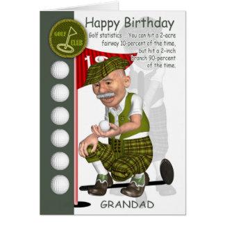Carte de voeux d'anniversaire de golfeur de papy a