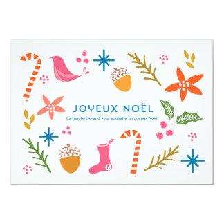 """Carte de voeux de fête Doodles Joyeux Noël 5"""" X 7"""" Invitation Card"""