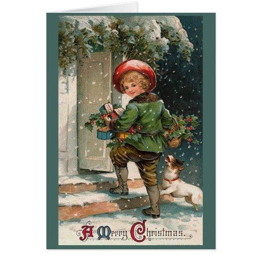 Carte de voeux de garçon de livraison de Noël