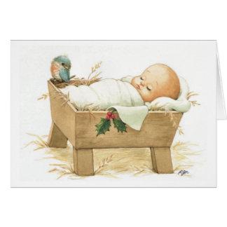 Carte de voeux de Joyeux Noël de Jésus de bébé