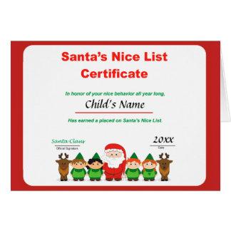 Carte de voeux de la liste de Père Noël