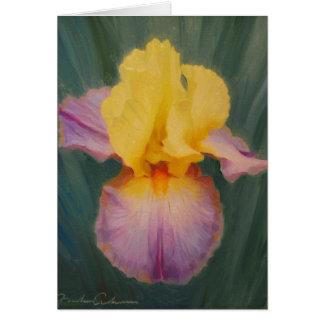 Carte de voeux de lavande et d'iris jaune