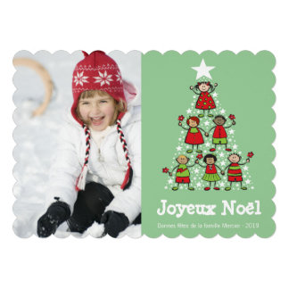 Carte de voeux de Noël Arbre de Noël d'enfants Announcements