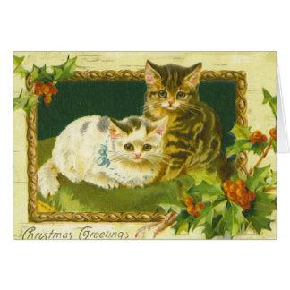 Carte de voeux de Noël de chaton