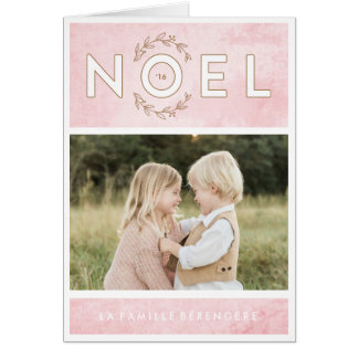 Carte de voeux de rose et d'or de Noël Greeting Card
