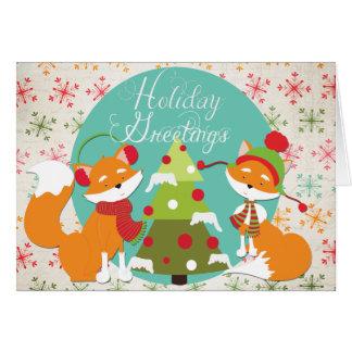 Carte de voeux de vacances de Noël de Fox rouge