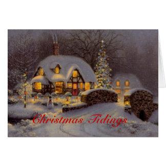 Carte de voeux décorée de Noël de scène de Chambre