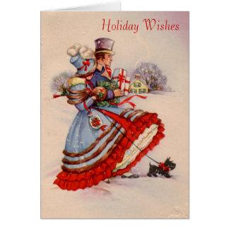 Carte de voeux démodée d'achats de Noël