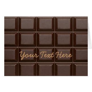 Carte de voeux douce de barre de chocolat