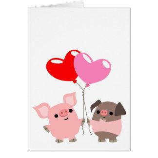 Carte de voeux embrouillée de coeurs (porcs de ban