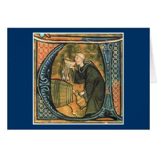 Carte de voeux médiévale de vin d'échantillon de