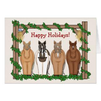 Carte de voeux mignonne de Noël de cheval de vacan