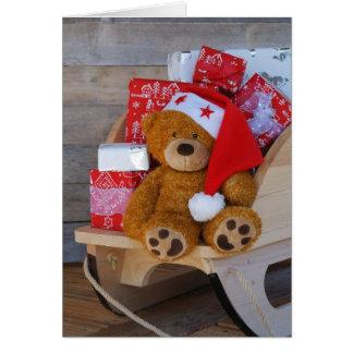 carte de voeux petit ours et ses cadeaux
