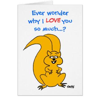Carte de voeux quotidienne d'amour d'écureuil drôl