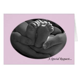 Carte de voeux rose de demande de parrains de bébé