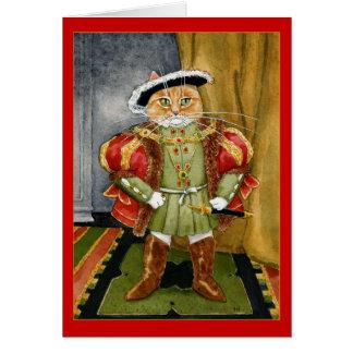 Carte de voeux royale d'anniversaire de chat du