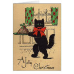 Carte de voeux vintage de Noël de chat noir