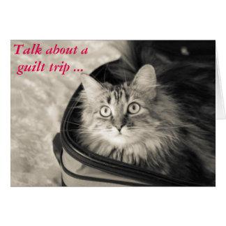 Carte de voyage de culpabilité avec le chat