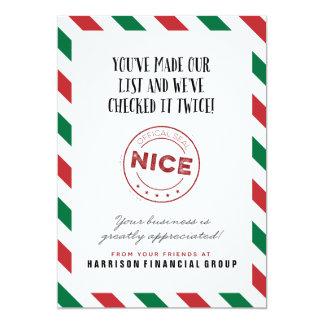 Carte d'entreprise vilaine ou Nice de vacances Carton D'invitation 12,7 Cm X 17,78 Cm