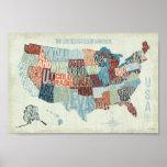 Carte des Etats-Unis avec des états dans les mots Posters