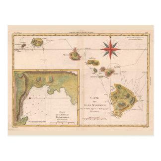 'Carte des Isles Sandwich', vintage Hawaii map Postcard