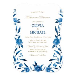 Carte Dîner floral bleu élégant de répétition de