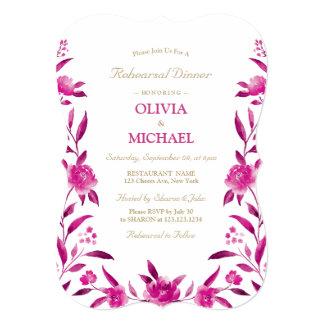 Carte Dîner floral rose élégant de répétition de