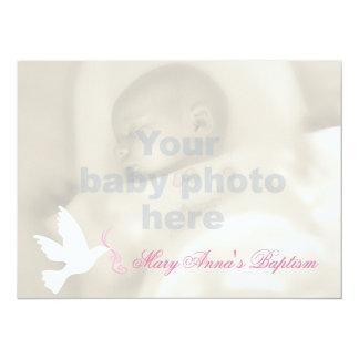 Carte d'invitation de colombe et de photo de bébé carton d'invitation  13,97 cm x 19,05 cm