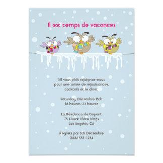 Carte d'invitation de fête de vacances de Hiboux Carton D'invitation 12,7 Cm X 17,78 Cm