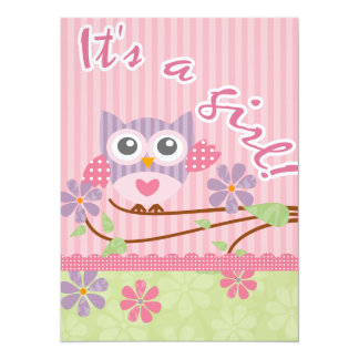 Carte d'invitation de hibou de bébé carton d'invitation  13,97 cm x 19,05 cm