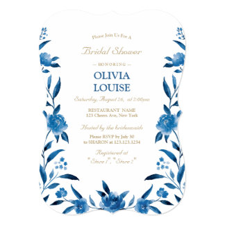 Carte Douche nuptiale de Chinoiserie floral bleu