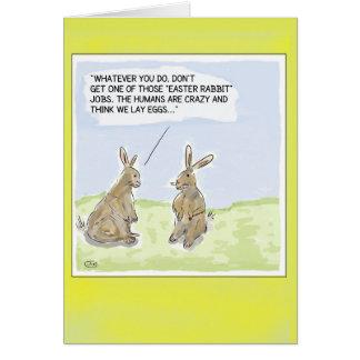 Carte drôle de lapins de Pâques de bande dessinée