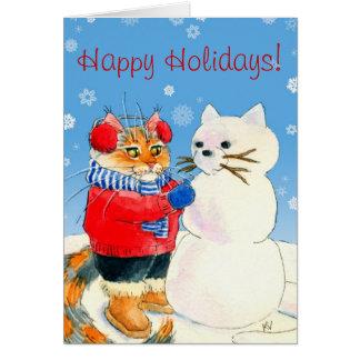 Carte drôle d'hiver de Noël de bonhomme de neige d