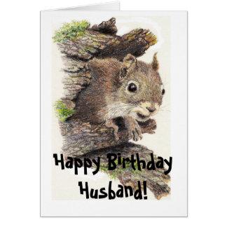Carte drôle et à noix d'écureuil d'anniversaire de